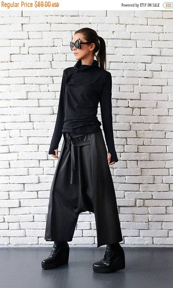 20% OFF Grey Maxi Pants with Belts/Extravagant Oversize Harem Pants/Drop Crotch Woman Pants/Fallen Bottom Pants/Extravagant Loose Pants  MET