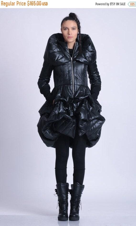 25% OFF NEW Extravagant Puffy Coat/Black Dress Coat/Oversize Collar Coat/Black Shiny Jacket/Maxi Coat with Pockets/Long Sleeve Zipper Coat M