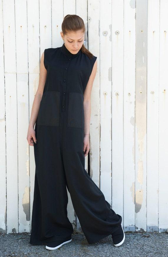 Black Long Jumpsuit / Women Jumpsuit / Plus Size Jumpsuit / Maxi Jumpsuit / Wide Leg Suit / Black Jumpsuit by METAMORPHOZA
