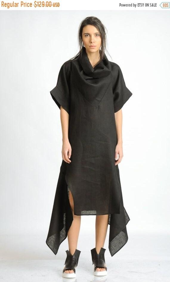 20% OFF Oversize Black Linen Dress/Plus Size Maxi Dress/Casual Tunic Dress/Short Sleeve Long Tunic/Loose Large Cowl Dress/Asymmetric Linen D