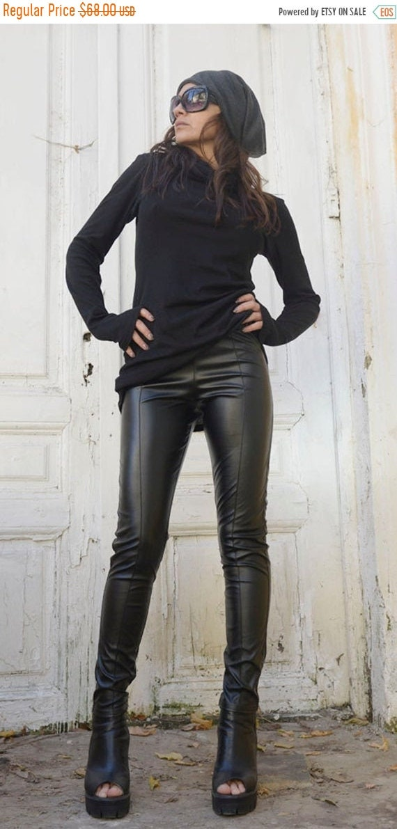 20% OFF Black Leather Pants /Tight Extra Long Leggings /Slim Fit Black Pants / Long Black Pants /Leather Leggings / Vegan Leather Pants METP
