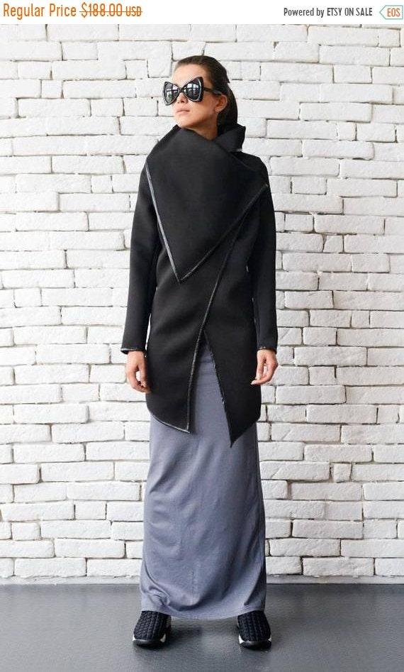 25% OFF Black Winter Coat/Asymmetric Warm Jacket/Long Black Coat/Large Collar Dress/Loose Black Cardigan/Oversize Black Blazer METC0020
