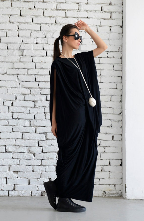 Black Long Dress/Maxi Black Dress/Extravagant Kaftan/Black Long Tunic/Oversize Tunic Dress/Loose Maxi Dress/Oversize Long Top/Black Kaftan