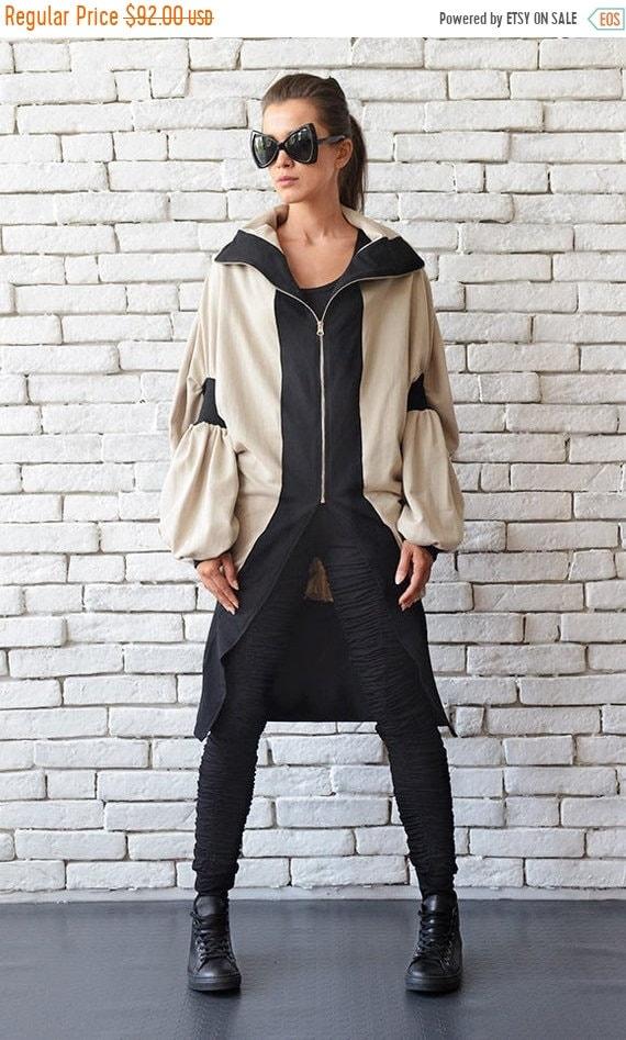25% OFF Long Winter Coat/Asymmetric Warm Jacket/Beige and Black Cardigan/Loose Casual Coat/Oversize Maxi Blazer/Zipper Jacket/Wide Bell Slee