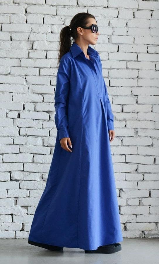SALE Blue Maxi Dress/Plus Size Kaftan/Extravagant Shirt ...