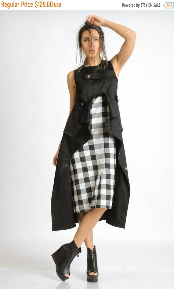 20% OFF Black and White Checked Dress/Extravagant Asymmetric Dress/Loose Long Tunic Top/Sleeveless Casual Dress/Handmade Checkered Pattern D