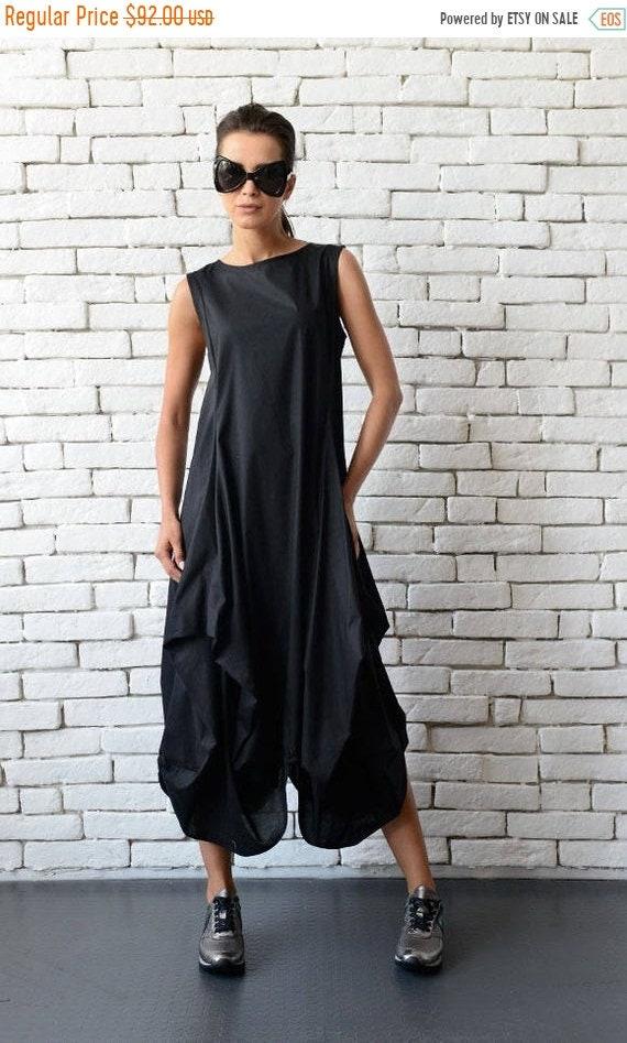 20% OFF Black Maxi Dress/Extravagant Asymmetric Casual Dress/Oversize Long Black Tunic/Black Sleeveless Kaftan/Loose Black Dress/Plus Size T
