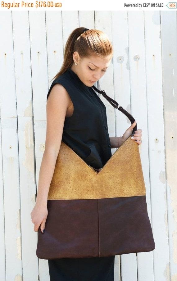 15% OFF Brown Leather Bag / Maxi Tote Bag / Shoulder Bag / Genuine Leather Bag/ Large Tote Bag / Two Color Leather Bag / Interesting Pattern