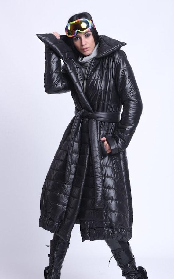 NEW Black Belted Coat/Long Loose Coat with Belt/Large Collar Down Jacket/Long Winter Coat/Black Puffer Jacket/Maxi Puffy Coat METC0085