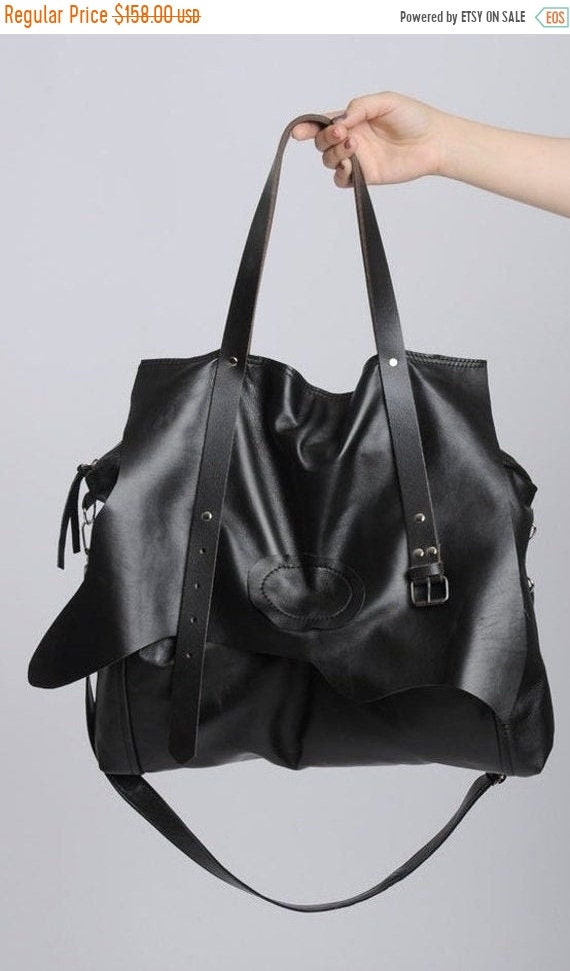 15% OFF Extravagant Leather Belt Bag/Maxi Black Genuine Leather Bag/Oversize Tote Bag with Belt/Large Black Purse/Black Designer Bag/Everyda