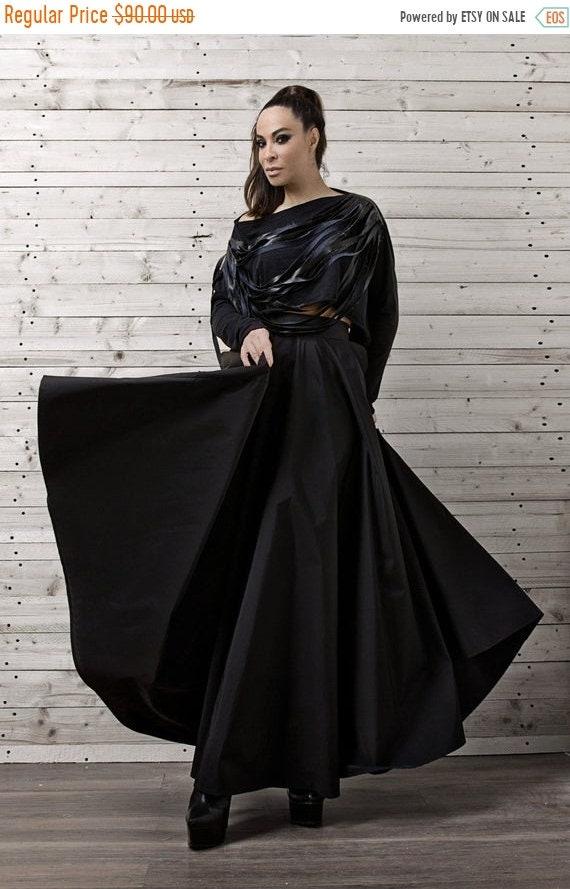 25% OFF Maxi Black Skirt/Long Loose Skirt/Oversize Long Skirt/High Waisted Skirt/Long Black Skirt/Elegant Party Skirt/Formal Black Skirt/Par