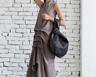 SALE Maxi Beige Dress / Asymmetric Beige Kaftan / Extravagant Sleeveless Dress / Plus Size Dress / Stage Maxi Dress by METAMORPHOZA