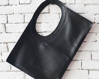 Tote Bag / Shoulder Bag / Leather Tote / Black Leather Bag / Boho Bag / Oversized Bag / Black Purse