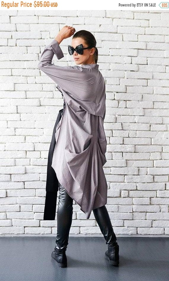 20% OFF Asymmetric Loose Shirt/Plus Size Tunic/Casual Long Sleeve Top/Oversize Long Top/Formal Modern Blouse/Extravagant Shirt with Belt MET