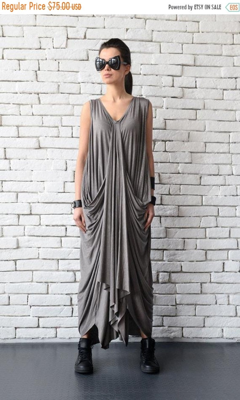 cd5ef01bc3fa SALE Asymmetric Maxi Dress/Oversize Loose Kaftan/Cream Grey | Etsy