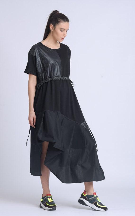 Maxi Black Dress/Oversize Asymmetric Dress/Casual Everyday Dress/Long Summer Dress/High Waist Dress/Loose Short Sleeve Tunic Dress METD0151