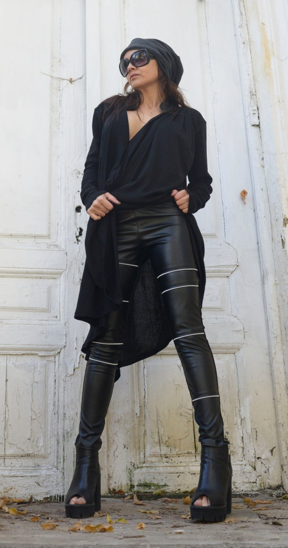 Black Leather Tight Pants/Extra Long Pants with Zippers/Statement Woman Leggings from Eco Leather/Vegan Leather Pants METP0006