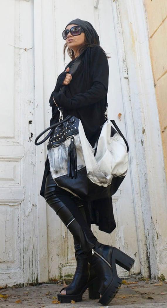 Black and White Maxi Bag / Oversize Leather Tote Bag / Fringe Tassel Bag / High Quality Tote Asymmetrical Large Bag by METAMORPHOZA