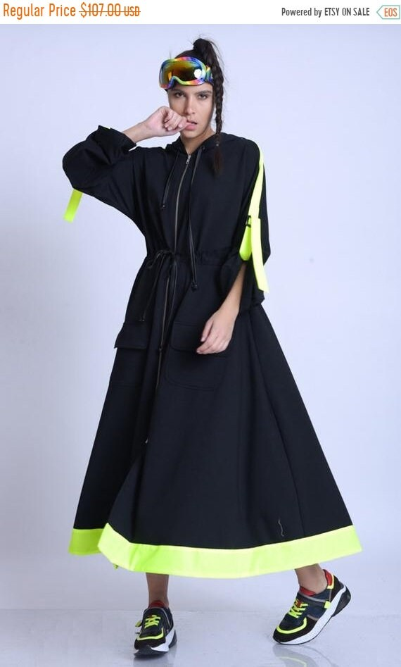 15% OFF META SPORT Plus Size Neon Accent Dress/Extravagant Oversize Jacket/Black Zipper Dress/Long Sleeve Kaftan/Adjustable Waist Dress/Hood