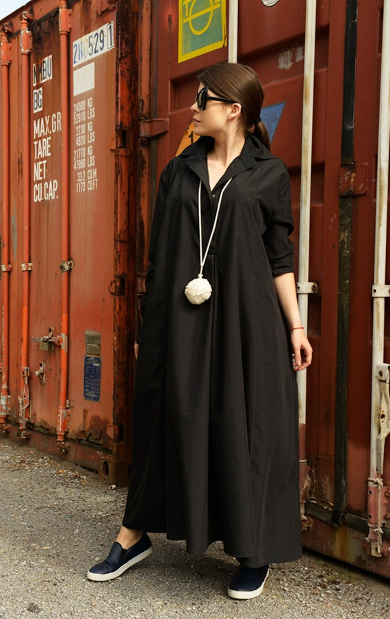 Black Maxi Tunic Dress/Black Kaftan/Black Maxi Dress/Oversize Loose Black Dress with Collar/Plus Size Maxi Dress/Black Cotton Kaftan