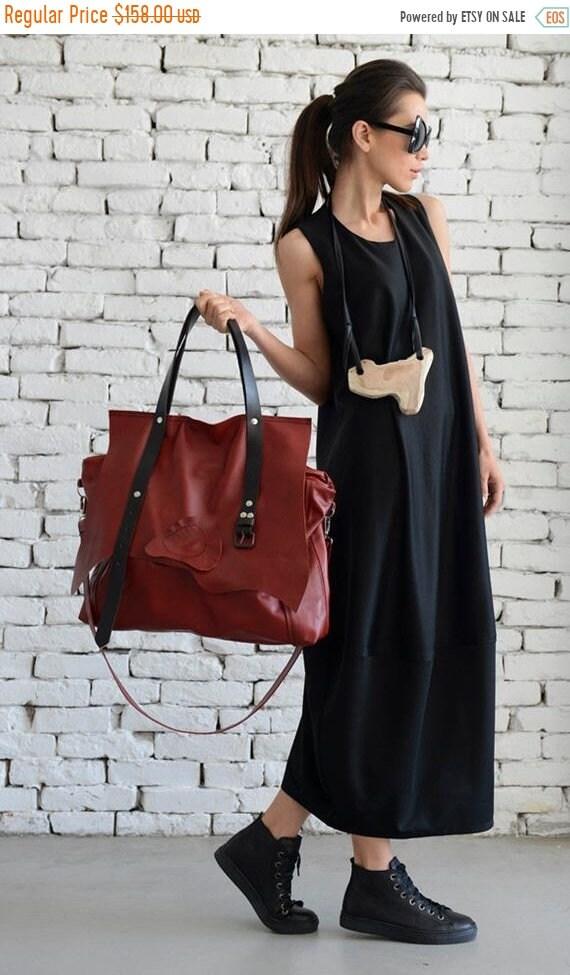 15% OFF Maxi Red Genuine Leather Bag/Large Tote Bag/Extravagant Belt Bag/Oversize Handbag/Maxi Tote/High Quality Leather Bag by METAMORPHOZA
