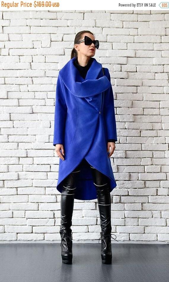 25% OFF Blue Cashmere Coat/Long Elegant Coat/Asymmetric Blue Jacket/Casual Winter Coat/Loose Blue Cardigan/Large Collar Warm Jacket METC0003