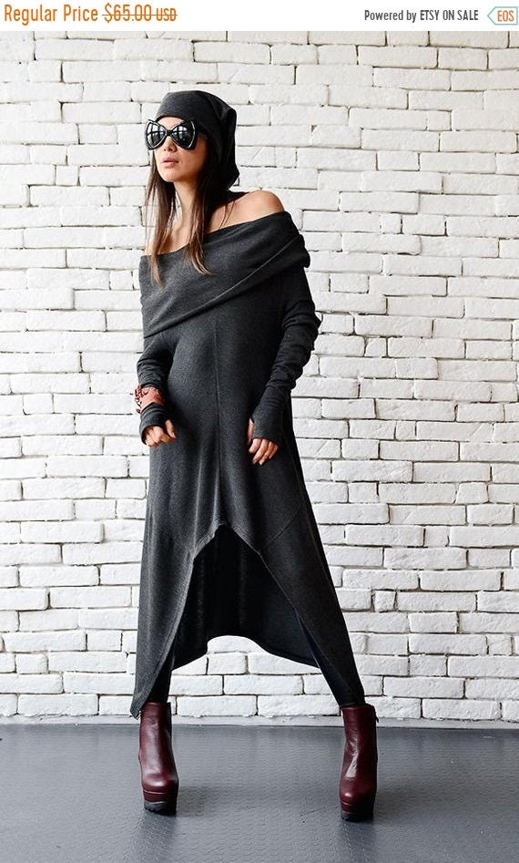 20% OFF Dark Grey Loose Tunic/Extravagant Casual Top/Comfortable Tunic Dress/Warm Tunic/Oversize Tunic Top/Mermaid Tunic/Sexy Top METT0056