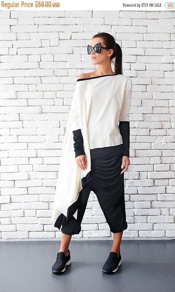 20% OFF Plus Size Maxi Tunic/Oversize Long Sleeve Top/White Tunic Dress/Asymmetric Casual Tunic/Extravagant White Sweatshirt/Loose Shirt MET