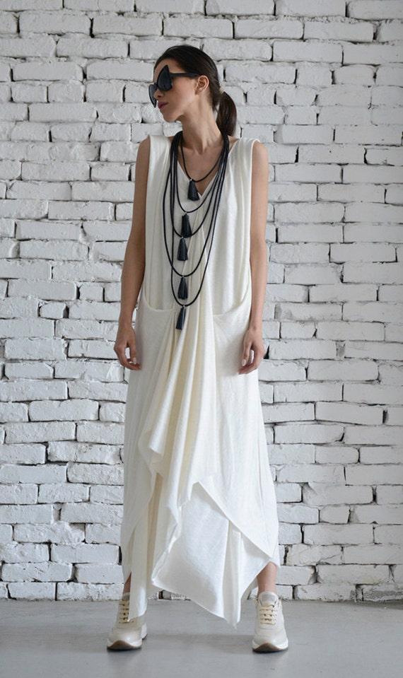 White Long Dress/Asymmetric Maxi Dress/Sleeveless Loose Kaftan/Casual White Dress/Summer Oversize Tunic/Plus Size Dress by METAMORPHOZA