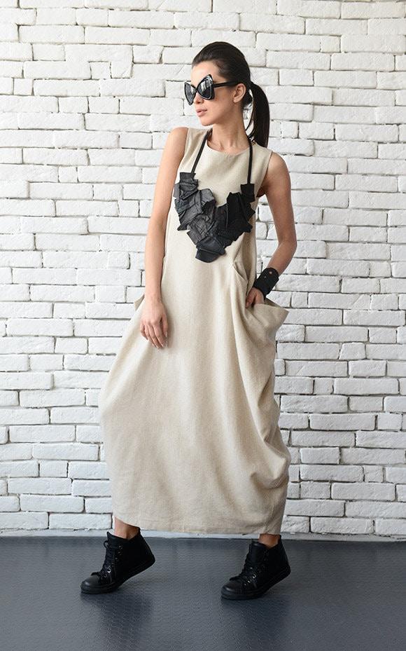 f3ce8a4513a2 Plus Size Maxi Dress/Beige Linen Long Dress/Casual Loose Kaftan/Sleeveless  Oversize Dress/Comfortable Linen Dress/Extravagant Oversize Tunic
