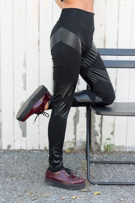 Black Leather Leggings / Slim Pants with Stripes / Casual Pants / Skinny Pants / Urban Style Modern Pants / Cotton and Leather Pants