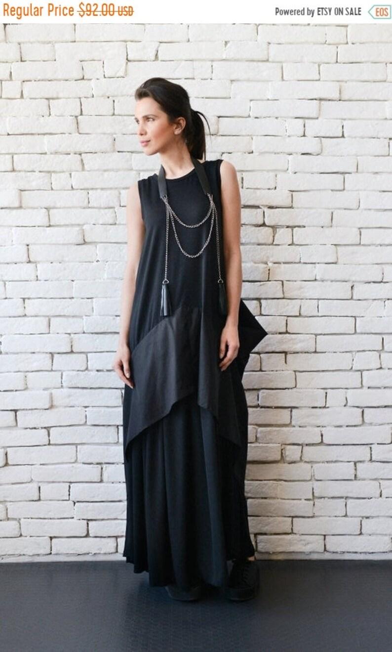 SALE Plus Size Maxi Dress/Black Maxi Dress/Black Kaftan/Sleeveless Long  Black Dress/Black Maxi Dress with Back Accent/Asymmetric Black Dress
