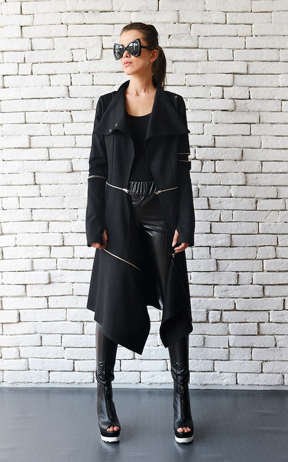 Loose Long Asymmetric Coat/Extravagant Zipper Jacket/Comfortable Casual Coat/Thumb Hole Sleeves Oversize Long Tunic METC0033
