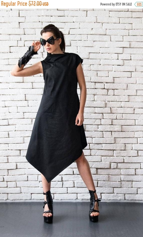 20% OFF Black Asymmetric Dress/Plus Size Loose Tunic/Extravagant Long Top/Sleeveless Black Dress/Maxi Black Dress/Black Maxi Dress METD0083