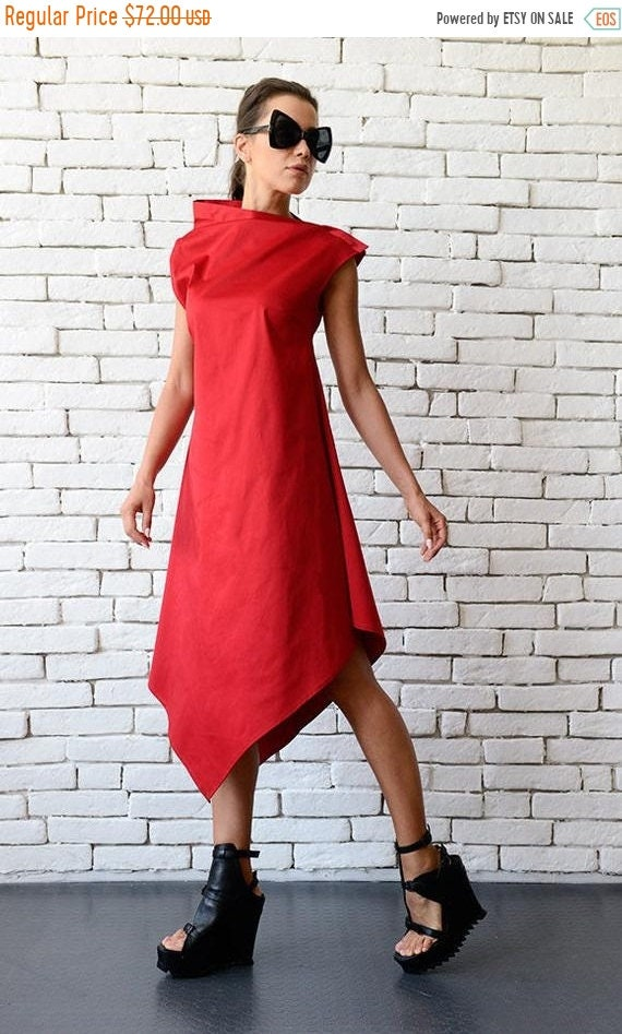 20% OFF Extravagant Red Dress/Fashionable Party Dress/Sleeveless Red Dress/Comfortable Tunic Dress/Oversize Long Tunic/Birthday Dress METD00