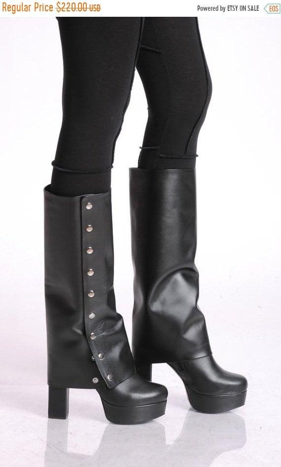 40% OFF Extravagant Black Heels/Leather Heels/Leather Black Boots/Sexy Heels/Black Boots/Leather High Heels/Extravagant High Leather Boots