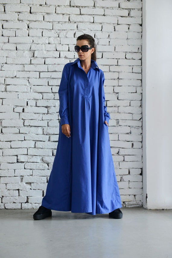 Blue Maxi Dress/Plus Size Kaftan/Long Sleeve Casual Dress/Oversize Shirt Dress/Blue Loose Tunic Dress/Evening Blue Dress by METAMORPHOZA