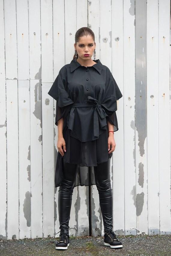 Asymmetric Black Chiffon Shirt / Black Loose Casual Top / Black Poncho / Belted Top / Asymmetric Black Tunic /Extravagant Leather Detail Top