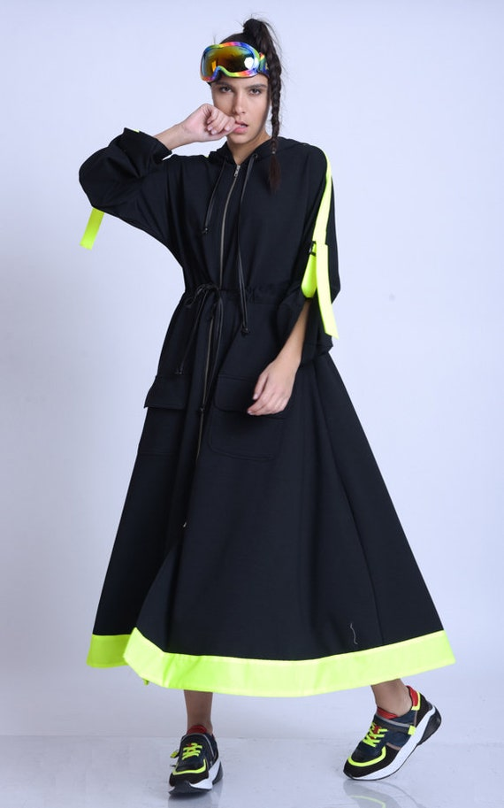 META SPORT Plus Size Neon Accent Dress/Extravagant Oversize Jacket/Black Zipper Dress/Long Sleeve Kaftan/Adjustable Waist Dress/Hooded Dress