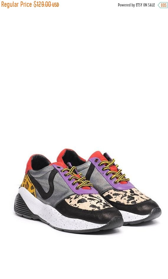 15% OFF META SPORT Multi Color Sneakers/Casual Everyday Shoes/Animal Print Shoes/Comfortable Gym Shoes/Genuine Leather Sneakers/Extravagant
