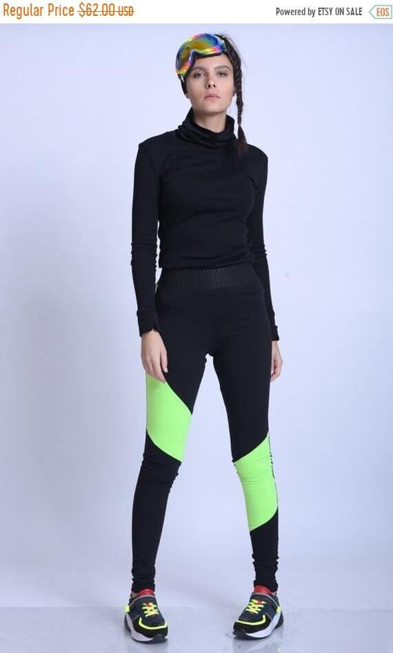 15% OFF META SPORT Extravagant Neon Pants/Elastic Waist Leggings/Black and Neon Pants/Jogging Pants/Extravagant Yoga Pants/Casual Workout Le