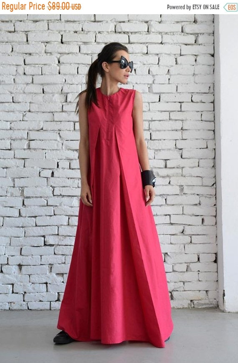 SALE Pink Maxi Dress / Loose Long Dress / Casual Daywear Dress / Plus Size  Summer Dress / Elegant Pink Dress /Pink Occasion Dress by METAMOR