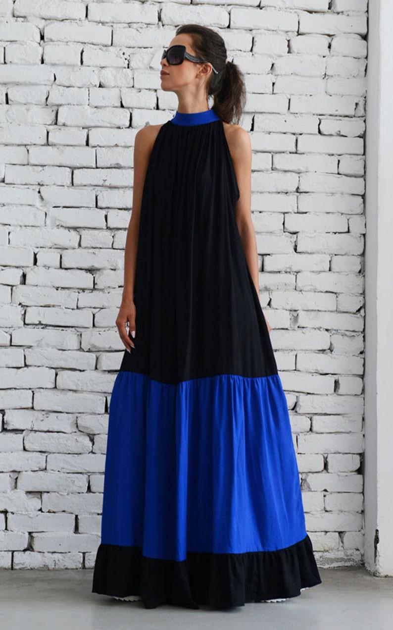 4d1998db67fb Black Maxi Dress/Plus Size Kaftan/Long Blue Dress/Loose Casual | Etsy