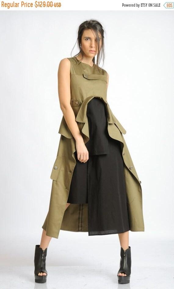 20% OFF Extravagant Sleeveless Dress/Loose Asymmetric Long Tunic/Khaki and Black Back Zipper Dress/Oversize Long Tunic Top/Multi Color Dress
