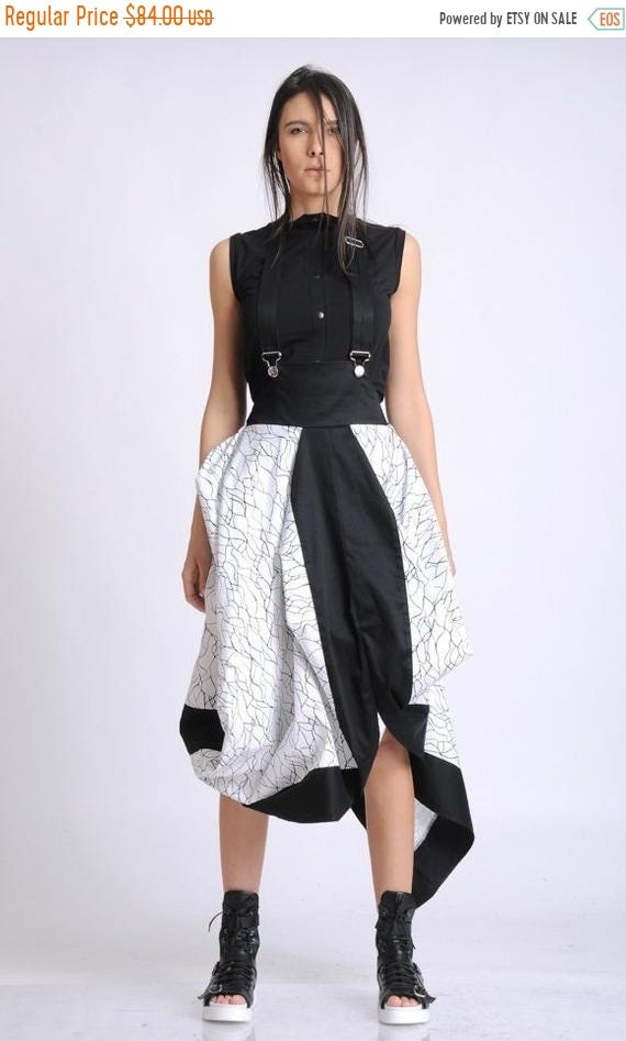 35% OFF Extravagant Black and White Skirt/Asymmetric Skirt with Suspenders/Elastic Waist Loose Skirt/Abstract Pattern Skirt/Jumpsuit Skirt