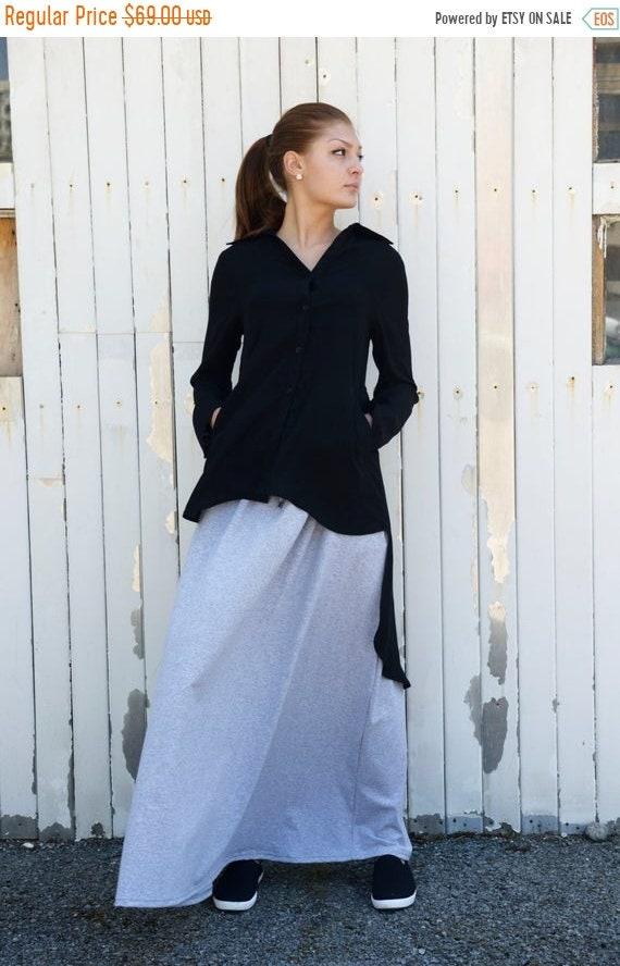 35% OFF Black Asymmetric Shirt / Loose Tunic / Long Black Top / Black Shirt / Asymmetric Black Top / Extravagant Black Casual Shirt by METAM