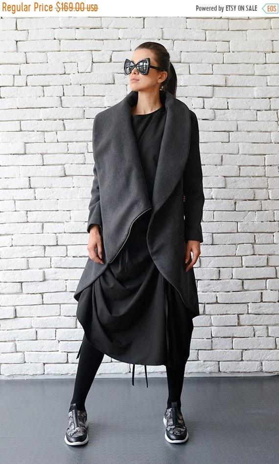 25% OFF Grey Loose Asymmetrical Winter Coat/Oversize Long Sleeve Cardigan/Long Warm Jacket with Large Collar/Grey Long Coat METC0003