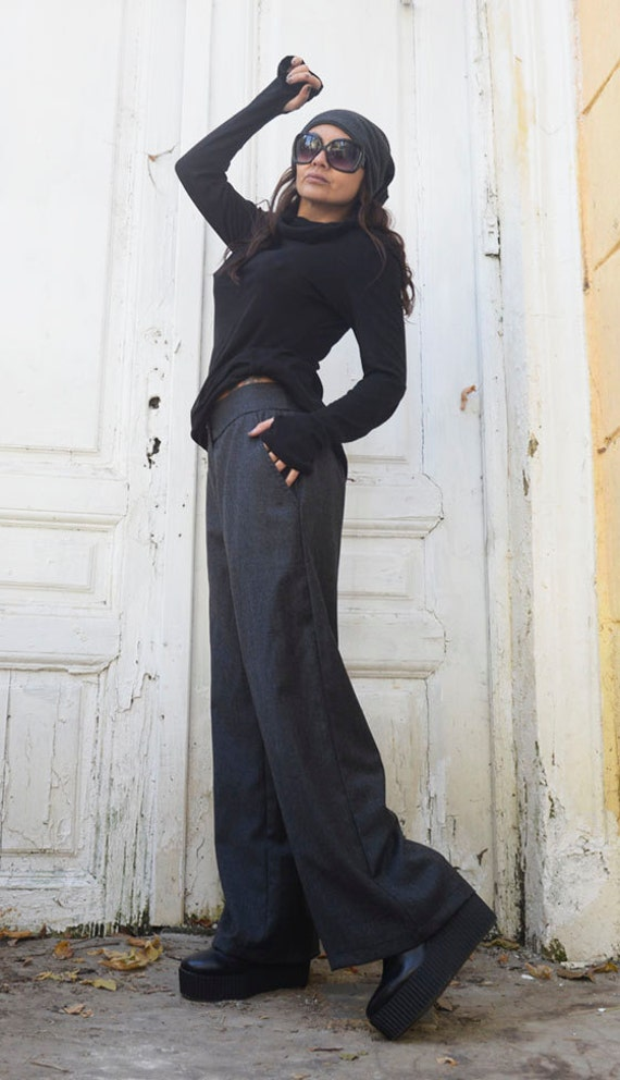 Elegant Long Grey Pants/Loose Evening Pants/Long Office Grey Pants/Modern Casual Work Pants/Wide Leg Woman Pants/Grey Trousers METP0019