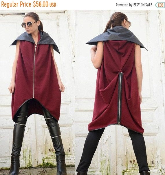 20% OFF Wine Red Loose Vest/Burgundy Sleeveless Jacket/Oversize Black Collar Coat/Asymmetric Tunic Top/Extravagant Long Top/Plus Size Red Tu