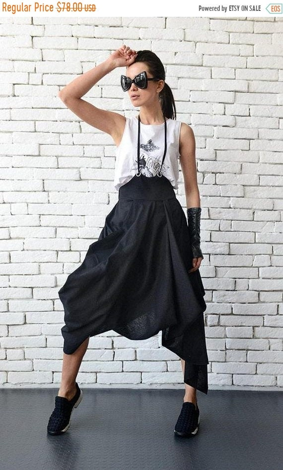 25% OFF Black Loose Skirt/Linen Casual Skirt/Asymmetric High Waist Skirt/Midi Linen Summer Skirt/Extravagant Jumpsuit Skirt/Black Skirt METS